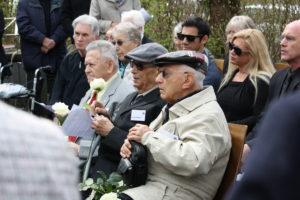 Gedenkfeier mit Überlebenden anlässlich des 70. Jahrestages der Befreiung am 12. April 2015 - im Vordergrund von rechts nach links die Überlebenden Isaak Akerman aus Israel, Manny Steinberg (†) aus den USA und Eugeniusz Dabrowski aus Polen